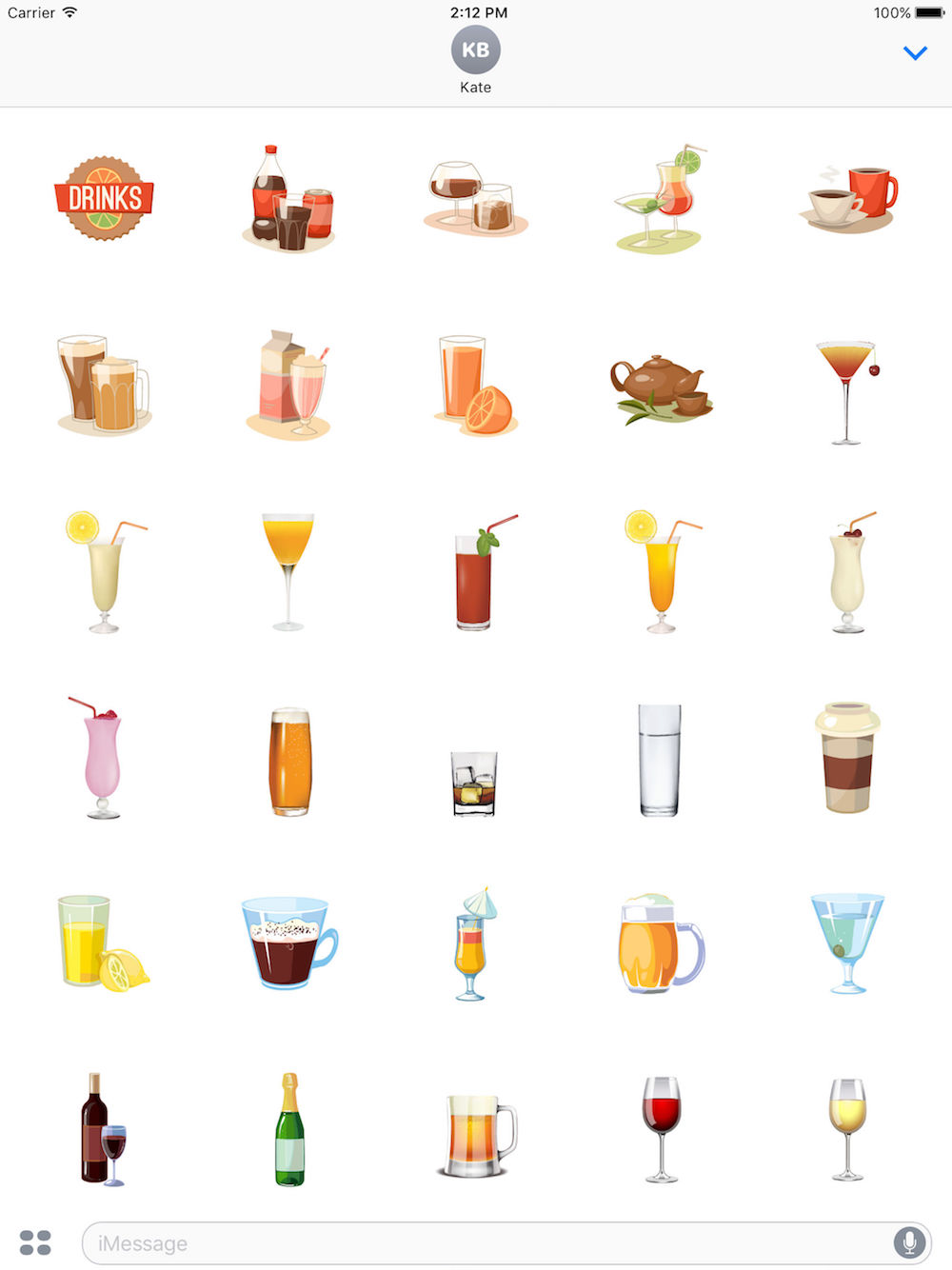 drink free iOS sticker messages pack