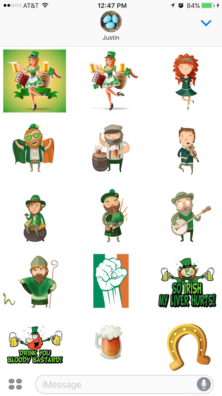 irish stickers for iOS messages