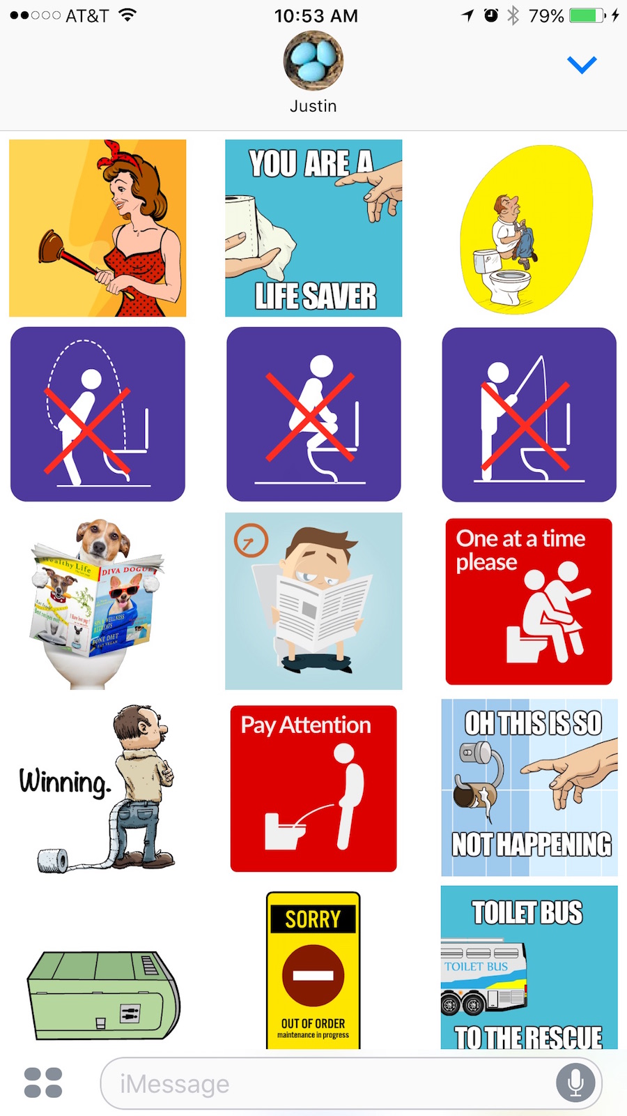 Free Toilet Sticker Pack for IOS Messages